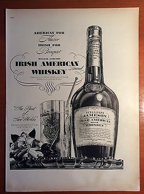 1937 William Jameson Irish American Whiskey Print Ad, Art by Merritt Cutler, B&W
