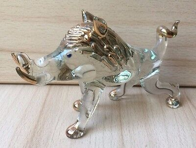 Vintage Collectible Handmade Glass BOAR Figurine with Gold Elements Hunting Art