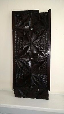15Th Century English Medieval Chip Carved Gothic Oak Panel C1450