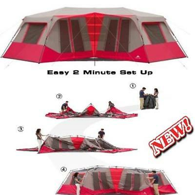 """Ozark Trail 25' x 12'6"""" Instant Double Villa Cabin Tents Sleeps 10 Red NEW"""