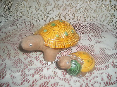 "2  Glazed Pottery Turtles - vibrant yellows & green - charming set  - 5 1/2"" lrg"