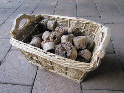 Vintage Lot 48 Cork Fishing Net Floats in Basket Nautical Decor