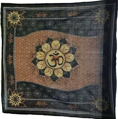 """36"""" x 36"""" Om Lotus 100% Cotton Altar Cloth or Tapestry"""