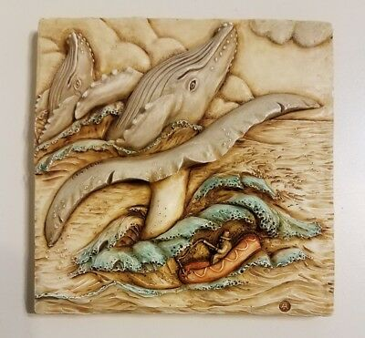 Harmony Kingdom Picturesque Noah's Park Whale Watch Magnetic Tile Signed