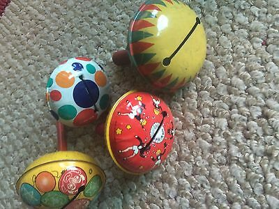 4 Vintage Tin Litho noise makers #5
