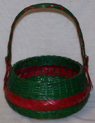"Colorful Wicker Basket 10"" High, Christmas Colors"