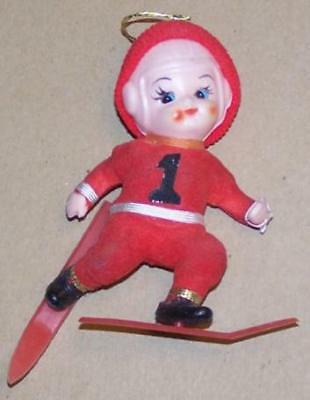 Vintage Pixie Elf Football Player Skier Christmas Ornament