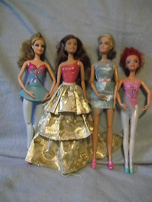 Lot of 3 jointed dance posable Barbie dolls & one mattel mermaid doll -