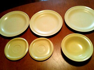 6 pcs Yellow 3 dinner plate/2 saucers/1 bowl-Duraware/Miralyn/Beaufort melamine