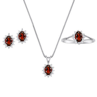 Garnet & Diamond Pendant, Earrings & Ring Set in Sterling Silver .925 with Chain