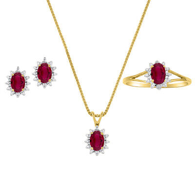 Ruby & Diamond Pendant, Earrings & Ring Set in Sterling Silver .925 with Chain