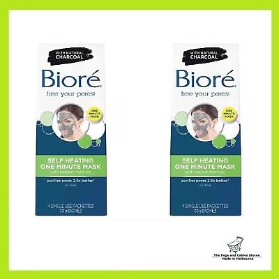 Biore Self Heating One Minute Mask With Natural Charcoal - (2 x 4 single use)