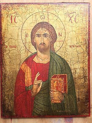 Jesus Christ Pantocrator Eastern Handpainted Christian Orthodox Byzantine Icon