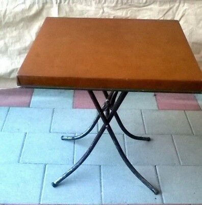 Vintage Faux Leather Vinyl Covered Folding Table Card Multi Purposes
