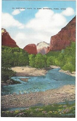 Vista in Zion National Park, Utah, Unused Vintage Linen Postcard