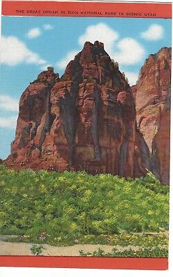The Great Organ in Zion National Park, Utah, Unused Vintage Linen Postcard