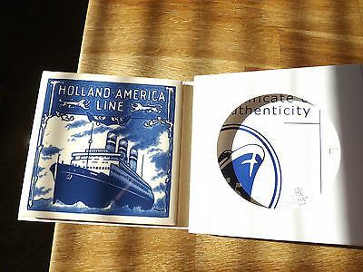"""Holland - America Line Delft Tile 1/8"""" Thick W Certificate"""