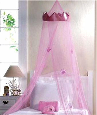 """Pink """"crown"""" Princess Royalty Bed Canopy W/ Pink Crown Hanging From Net * Nib"""