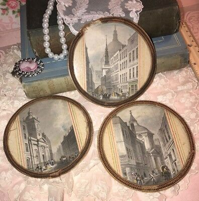 Antique French COASTER Handcrafted 19th Century London Travel POSTCARD 1828