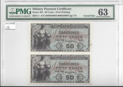 MPC Series 481 50 Cents 1st  Printing  UNIQUE UNCUT PAIR PMG 63 CHOICE UNC RRR