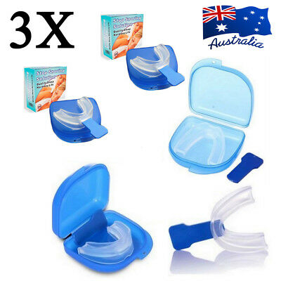 3 X Mouthguard Mouthpiece Snoring Aid Anti Snore Sleep Quality Mouth Guard