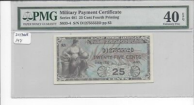 MPC Series 481  25 Cents 4th printing PMG  40EPQ    EXTREMELY FINE  x Chambliss
