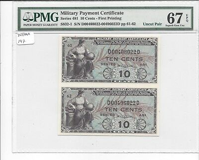 MPC Series 481 10 Cents UNCUT PAIR   UNIQUE  PMG 67EPQ SUPERB GEM UNC