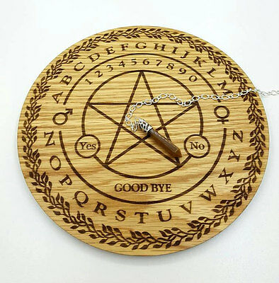 Pendulum Dowsing board engraved with a Penticle and free Pendulum