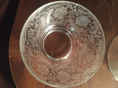 """Antique vtg Victorian Gas Light Foral ETCHED Glass LAMP SHADE Globe 4"""" fitter"""
