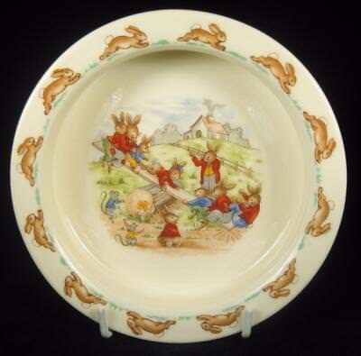 Royal Doulton Bunnykins Playing See-saw Baby Bowl 1968-75