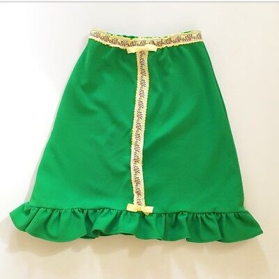 Kelly Green Mod Poly Dirndl Skirt Oktoberfest 60s Handmade 4T 5T 6 Yrs FREE SHIP
