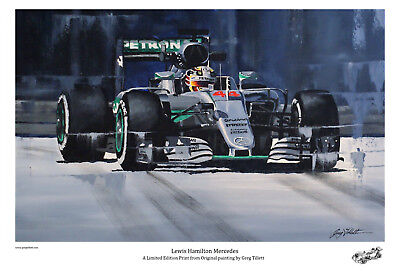 LEWIS HAMILTON limited edition print by Greg Tillett FORMULA ONE F1 POSTER.