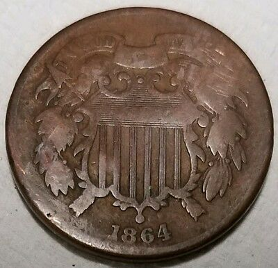 1864 Two Cents Piece Semi-Key Date Civil War Era 2cent Copper Coin - rev damage