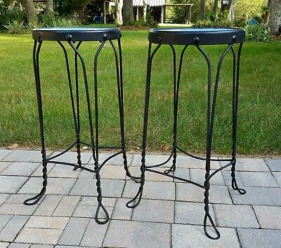 """Antique Ice Cream Parlor Stool wrought iron 26"""" Primitive Steampunk A.H. Andrews"""