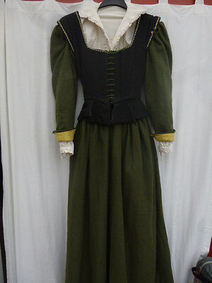 8  reenactment bodice kirtle shift authentic costume wool LARP Elizabethan Tudor