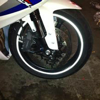 Wheel Reflective Rim White Silver Stripe Motorbike Tape Decal Sticker - FITS ALL