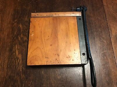 """Outstanding Small Sized 8.5"""" Antique Industrial Paper Cutter Crisply Sharp Blade"""