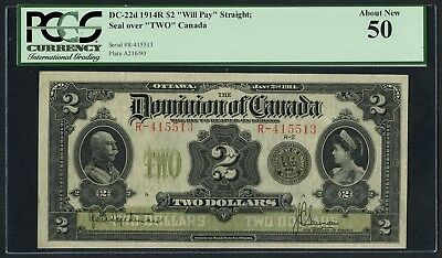 CANADA DC-22d $2 1914R WILL PAY STRAIGHT SEAL OVER TWO PCGS 50 ABOUT NEW WLM4399