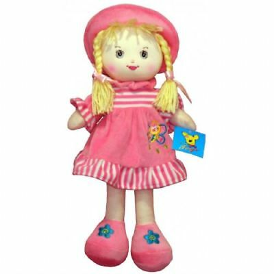 New 18 cm Cute Pink RAG DOLL Dolly - Christmas Gift For Girls From Cuddles Time