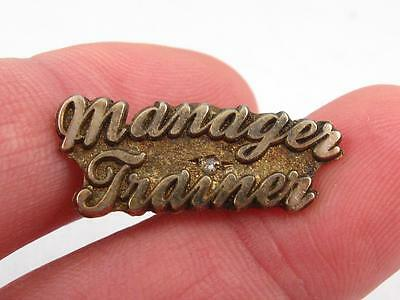 Vintage Manager Trainer Sterling Silver & Diamond Employee Service Pin