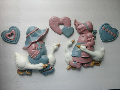 Home Interiors  5pc Set Resin ''Boy & Girl w/ Ducks & Hearts '' Wall Plaques