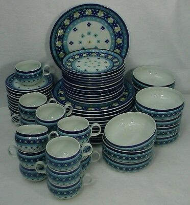 BLOCK china POTPOURRI pattern 65-Piece SET SERVICE for 12 Vista Alegre Portugal