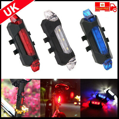 USB Rechargeable 5LED Bike Cycling Front Rear Tail Light Lamp 4 Modes  UK STOCK