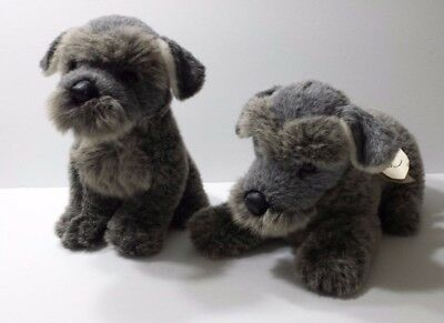 Set of 2 Avanti Schnauzer Pup Plush 1985 / 86  Applause Stuffed Animal Dog Toy