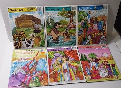 Lot of 6 Bible Story Frame- Tray Puzzles 1995 Golden Books Noahs Ark