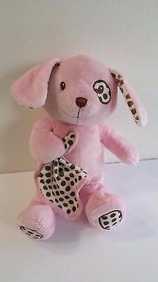 TOYS R US Pink Plush Dog with Brown Polka Dots Childs Soft Toy Stuffed Animal