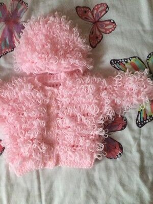 Baby loopy  cardigan  and hat Pink3.6