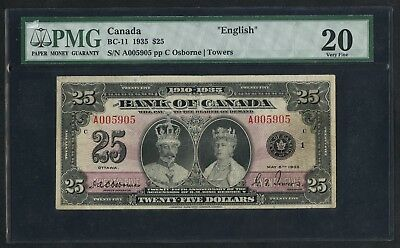 "#bc-11 $25 1935 Bank Of Canada Pmg 20 Vf ""english"" Tiny Margin Tears Wlm4411"