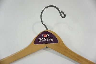 VTG. WOODEN HANGER  BAXTER CLOTHES Sticker Advertising Label