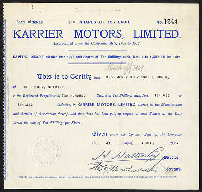 Karrier Motors Ltd., 10/- shares, 1933, blue, VF